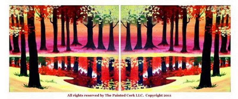 Fall Trees and Pond ~ Double canvas