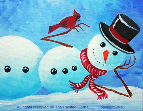 Laid Back Snowman with Cardinal
