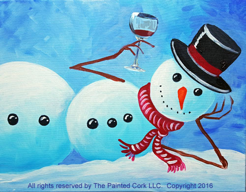 Laid Back Snowman with Wine Glass