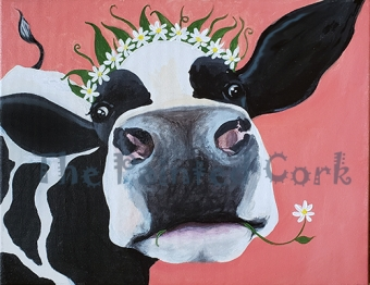 "Sacramento Studio 8/26: NEW PAINTING ~ Come paint ""Daisy the Cow"" with us at a SPECIAL DISCOUNT ~ $5 Off"