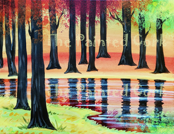 Sacramento Studio 8/28: Fall Trees and Pond ~ End of Summer Special ~ $10 OFF ~ Ages 21 and up ~ Single or Double canvas versions!