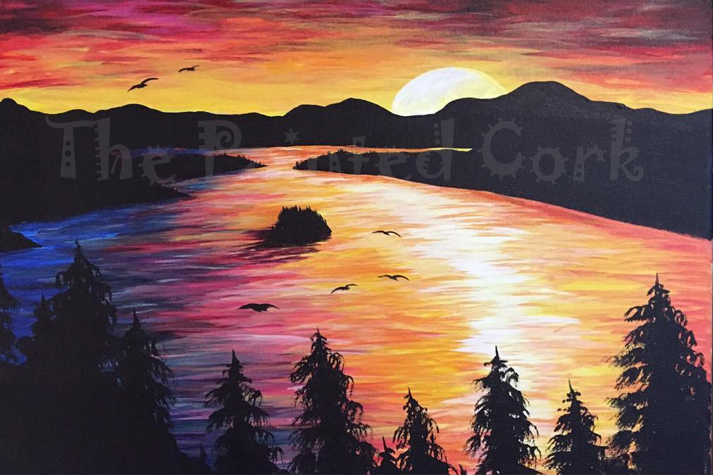 Emerald Bay Lake Tahoe Sunrise - Acrylic Painting Tutorial