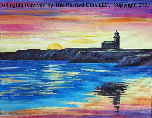 Steamer's Lane Lighthouse of Santa Cruz - Acrylic Painting Tutorial
