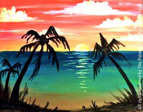 Tropical Sunset - Acrylic Painting Tutorial